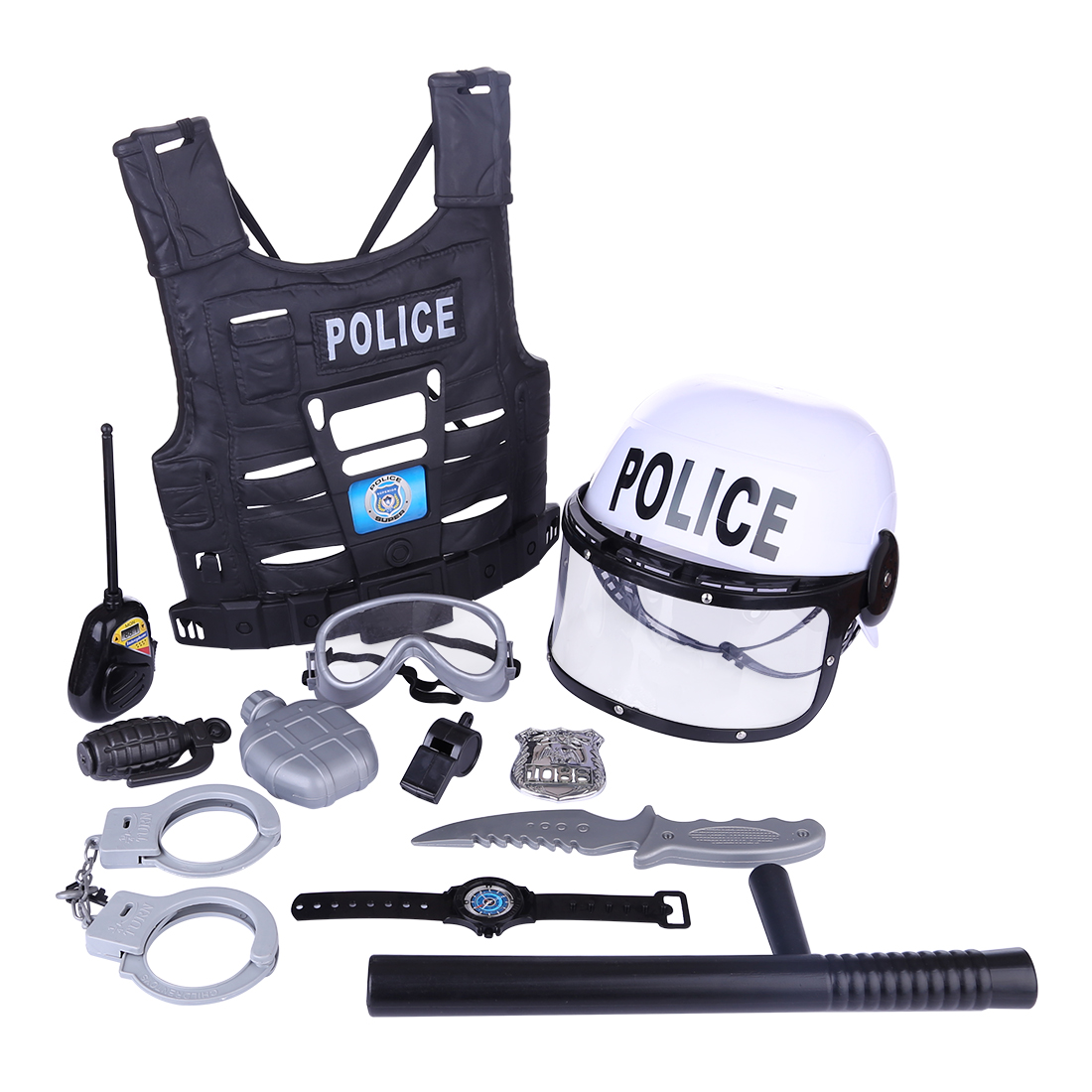 Hot Popular 11Pcs/set Children Simulation Policeman Role Play Kits For Boys Kids Playing Set Pretend Play Toys