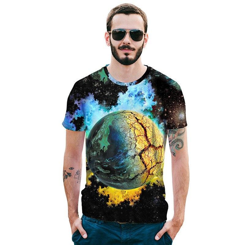Fresh Blue Starry Space Galaxy Universe Men 3D man t-shirt printed t-shirts Print Emoji brand mens clothing T shirts Shirt homme