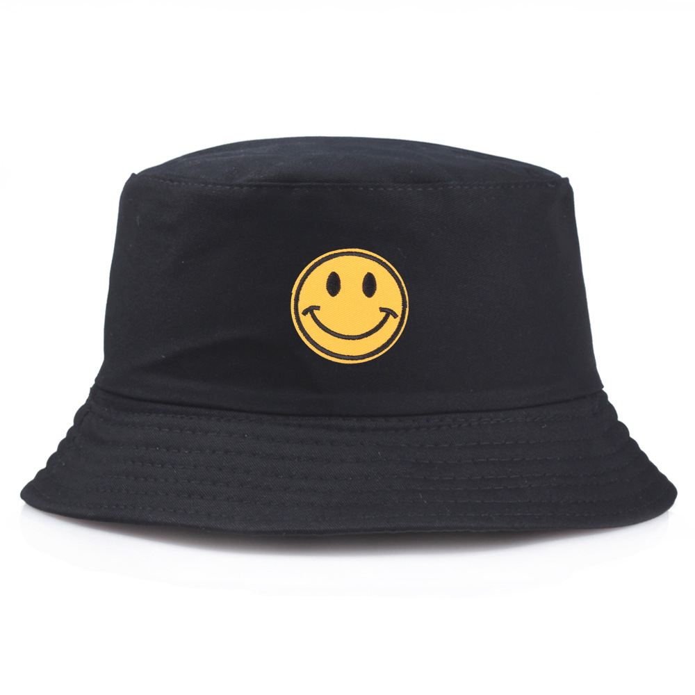 VORON New Casual Embroidery Yellow Smiley Face Fisherman Hat For Women Men Fashion Simple Outdoor Friends Visor Sun Basin Hats