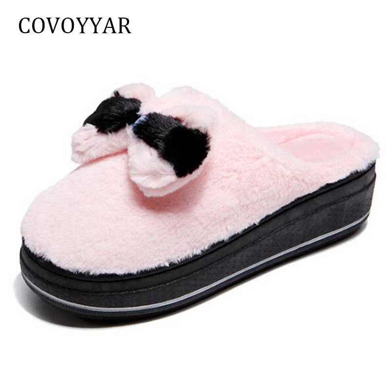 743b4b2278d COVOYYAR Winter Women Slippers Lovely Bow Platform Home Shoes Warm Indoor  outdoor Fur Slides Wedges