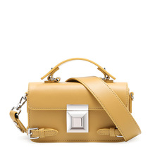 Leather handbags Messenger bag fashion leather wild shoulder small square bag high quality wide shoulder strap yellow(SHALOM)
