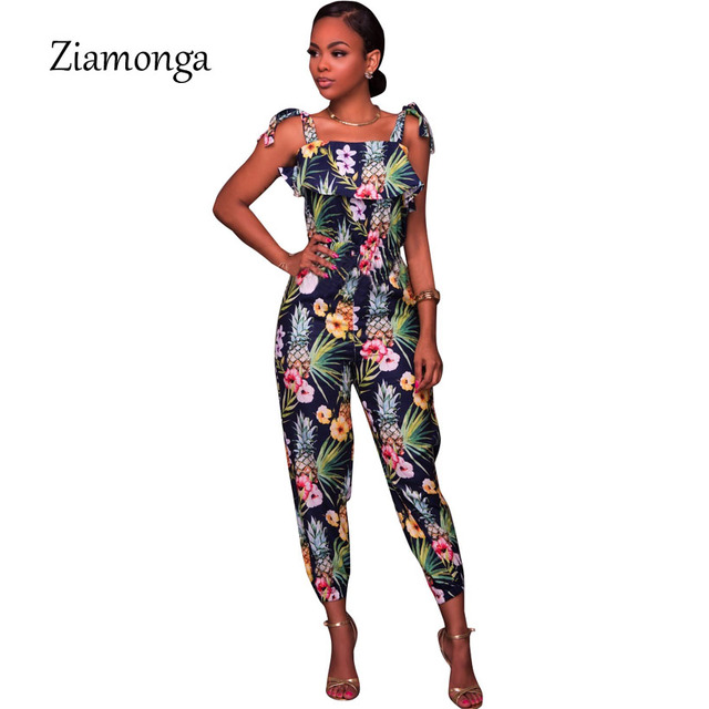 96e40c8eefd Ziamonga Ruffle Off Shoulder Jumpsuit Womens Elegant Floral Printed Party  Club Overalls Plus Size Sexy Rompers Womens Jumpsuit