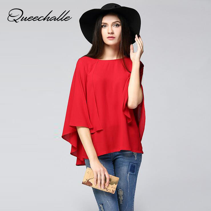 Red Navy Color Cloak Cape Chiffon Blouse 2019 Summer Large Size Batwing Sleeve Women's Shirts 6XL Plus Size Loose Women Blouses