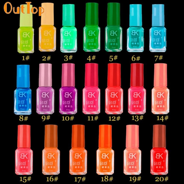 Nail Polish OutTop 20 Color Choice Fluorescent Neon Luminous Nail ...