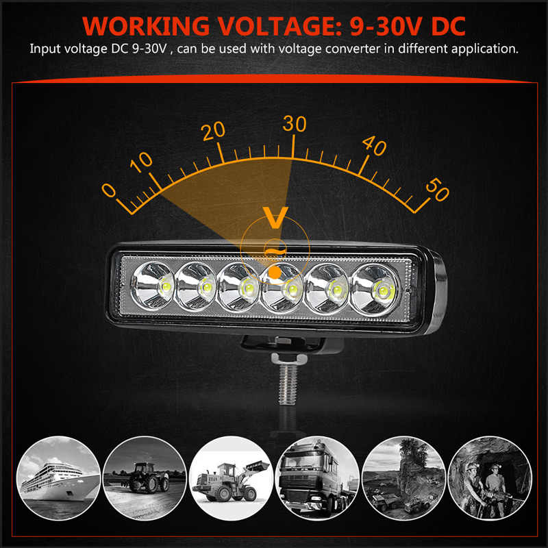 RACBOX 6 inch 18W DRL LED Work Lamp Light 4WD for Jeep LADA Toyota Dodge Off Road Truck Bus Boat Fog Light Car Light Assembly