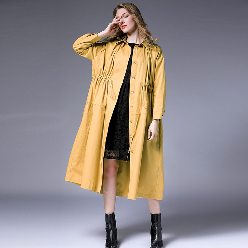 Large Size Women Clothing Coat Women Autumn New Loose Silhouette High Waist Thin Single-breasted Long   Trench   Coats With String