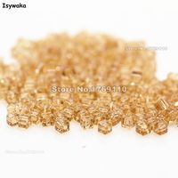 Isywaka 1980pcs Cube 2mm Golden Color Square Austria Crystal Bead Glass Beads Loose Spacer Bead For