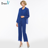 Dressv Dark Royal Blue Sheath Mother Of Bride Dress With Jacket Long Sleeves Floor Length Long