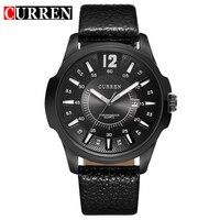 CURREN New Fashion Casual Quartz Watch Men Large Dial Waterproof Chronograph Releather Wrist Watch Relojes Free