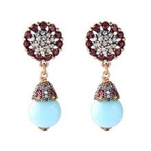 Vintage Alloy Chic Crystal Flower Dangle Earrings for Women Korean Fashion Blue Acrylic Bead Drop Earrings Wedding Party Jewelry недорого