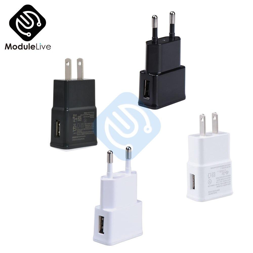 Белый, черный, 5 В, 2 А, вилка стандарта ЕС и США, 1 порт, USB, настенное зарядное устройство, быстрый адаптер питания для путешествий