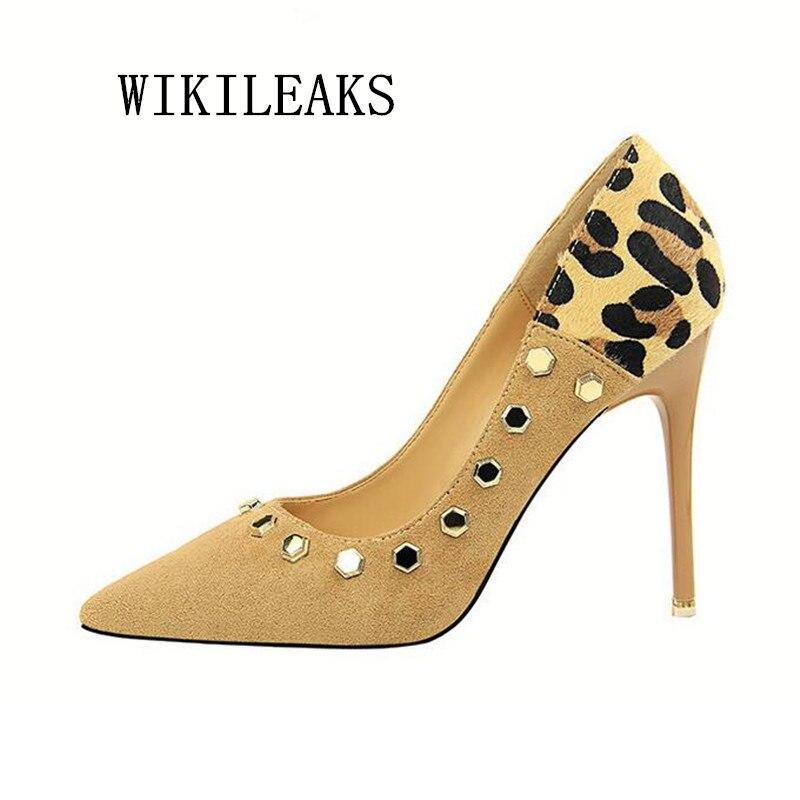 dd6871c67bfc9 fetish high heels designer shoes women luxury 2019 bride wedding shoes sexy  pumps leopard women shoes rivets high heel stiletto