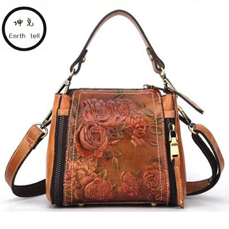Earth tell Women Printing Shoulder Bags Fashion Female Handbags Genuine Leather Large Capacity Retro Tote Casual Messenger bag c pe097 super chinese green food puer tea fuding white tea cake 350g sessile silver needle natural herbal white peony bag