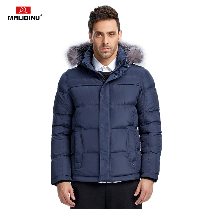 MALIDINU 2019 Men Duck   Down   Jacket Brand Winter   Down     Coat   Real Fox Fur Mens   Down   Parka   Coats   For Men Outwear European Size -30C