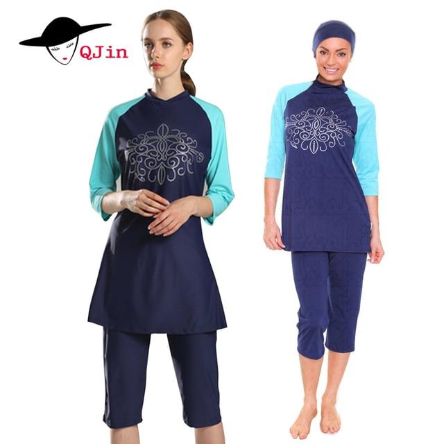 37f0c12bc56 Full Coverage Modest girls Muslim Swimwear Islamic Swimsuit For Women Arab  Beach Wear Hijab Swimsuits Plus Size Burkinis 4XL