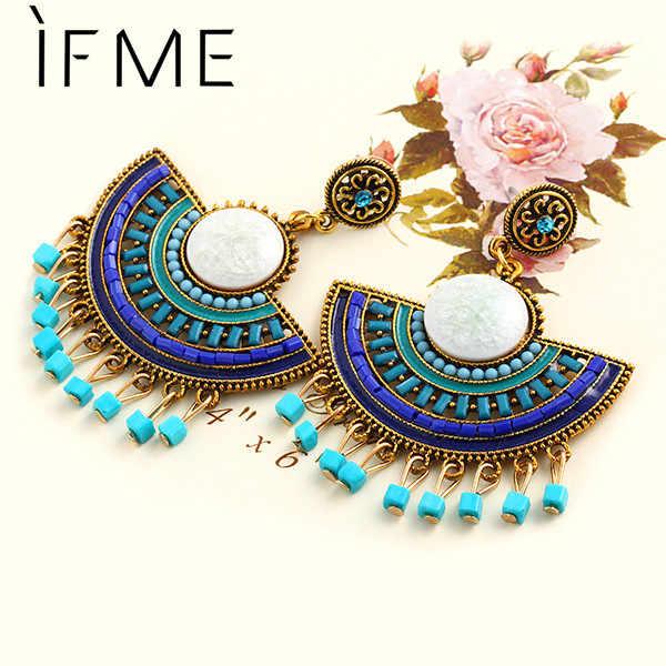 IF ME Fashion Charm Vintage Bohemian Beads Earrings for Women Piercing Jewelry Hollow Flower Pendant Dangle Drop Earrings 2018