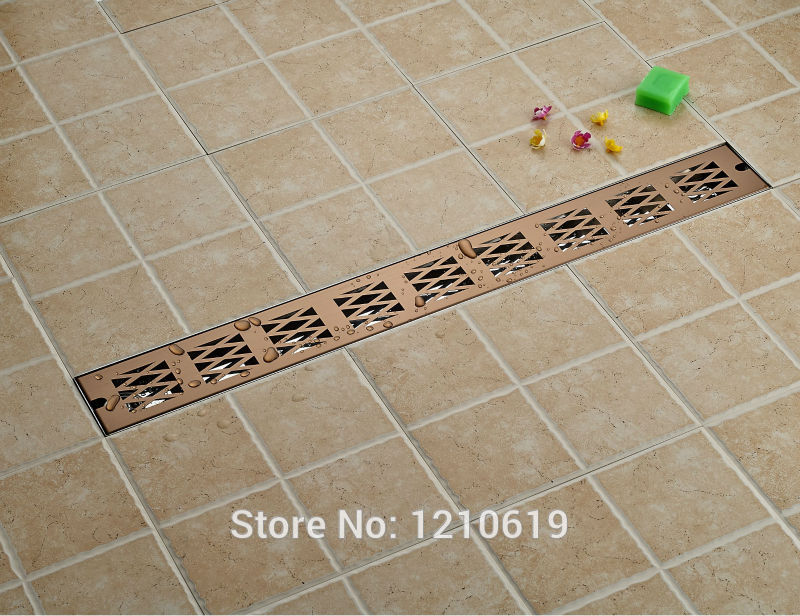 Hot Sale Rectangle 90 10cm Bathroom Floor Drain Rose Gold Plate Stainless Steel Shower Strainer Drainer