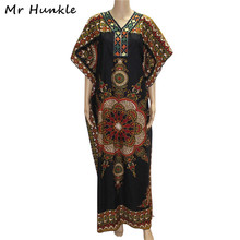 Mr Hunkle 2017 Vintage African Dresses For Women Embroidery African Print Maxi Summer Dress Dashiki Dress Robe Africaine Femme