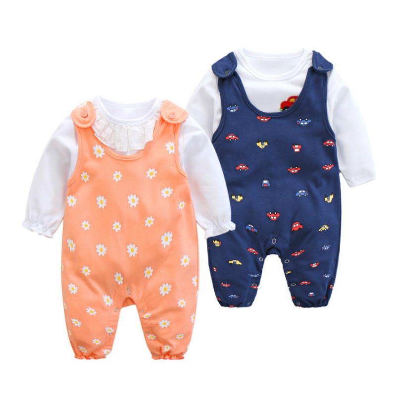 CalaBob Baby Girl Clothes Set Cotton Printed Rompers +Long Sleeve Tops 2 Pieces Newborn Baby Boys Girls Clothing Set cotton baby rompers set newborn clothes baby clothing boys girls cartoon jumpsuits long sleeve overalls coveralls autumn winter