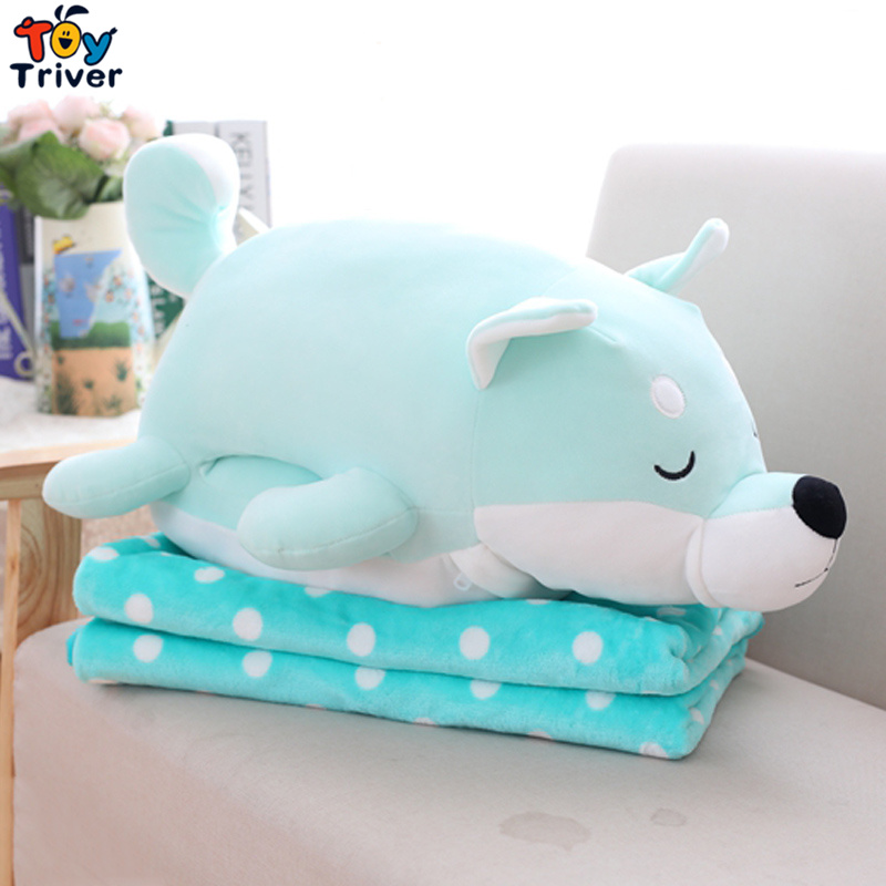 Plush Shiba Inu Dog Portable Blanket Hand Warm Cushion Pillow Toy Doll Baby Kids Shower Car Office Nap Carpet Gift Triver 55cm cute cartoon lilo and stitch warm hand pillow plush toy doll stuffed pillow cushion toys dolls warm hands stitch kids toy