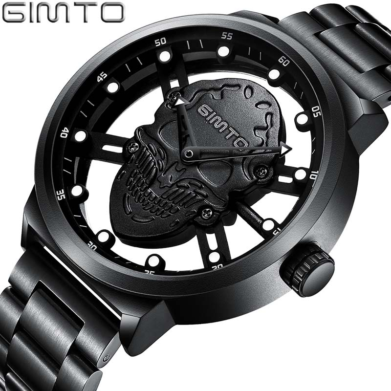 Top Brand Luxury Hollow Skull Men Watch  Creative Skeleton Gold Quartz Wristwatch Steel Casual Male Clock Relogio Masculino