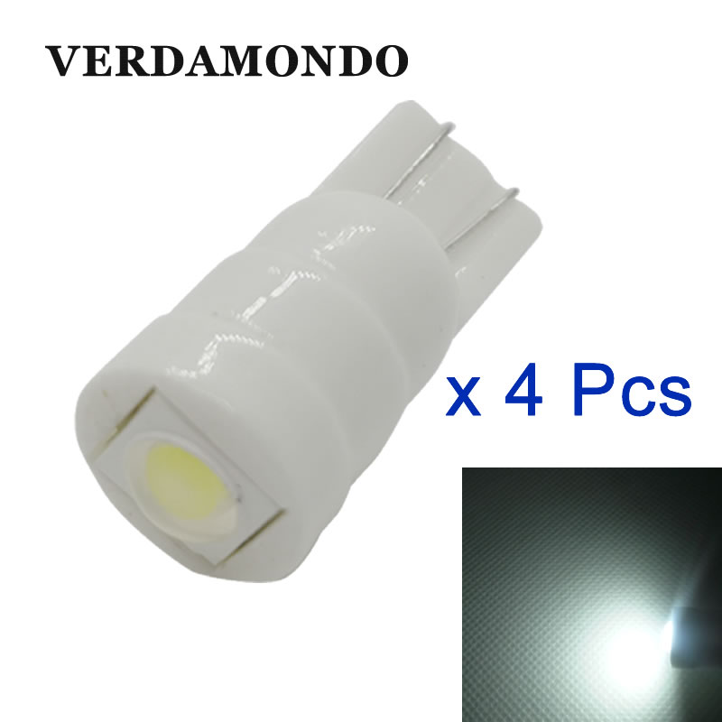 4PCS New Heat Durable T10 Ceramic 7070 1 SMD 194 W5W Wedge Light Car Marker Light Reading Dome Lamp Auto Parking Bulbs White