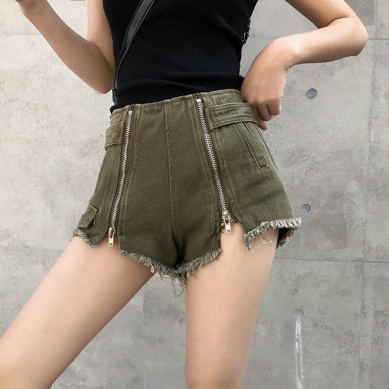 Denim   Shorts   Women Summer Fashion High Waist Zipper   Shorts   Casual Fashion Streetwear Outfits