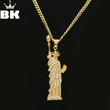 New Inlay zircon Statue of Liberty pendants Titanium steel Hiphop gold color 70cm Long chain statement necklace men Jewelry(China)