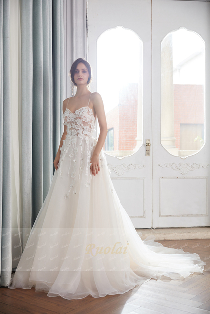 Boho Wedding Dresses A-Line Sweetheart Beach Wedding Gown Floral Beaded Light Champagne Bridal Gown Robe de Mariee RW16