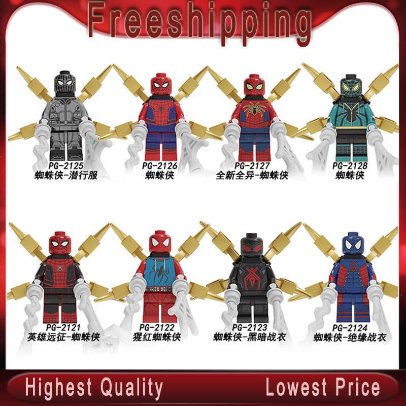 Tijolos de Blocos de construção de Super Heróis Figuras Spiderman Series Filme Longe de Casa Para As Crianças Brinquedos de presente Coleção PG8249