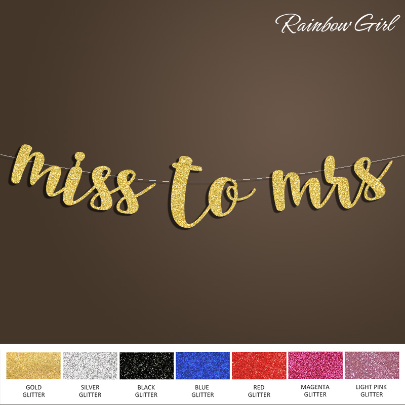 Miss la doamna Banner, Bridal Shower Sign de fundal, Bachelorette / aniversare / aur Glitter Nunta Party Decoratiuni Consumabile