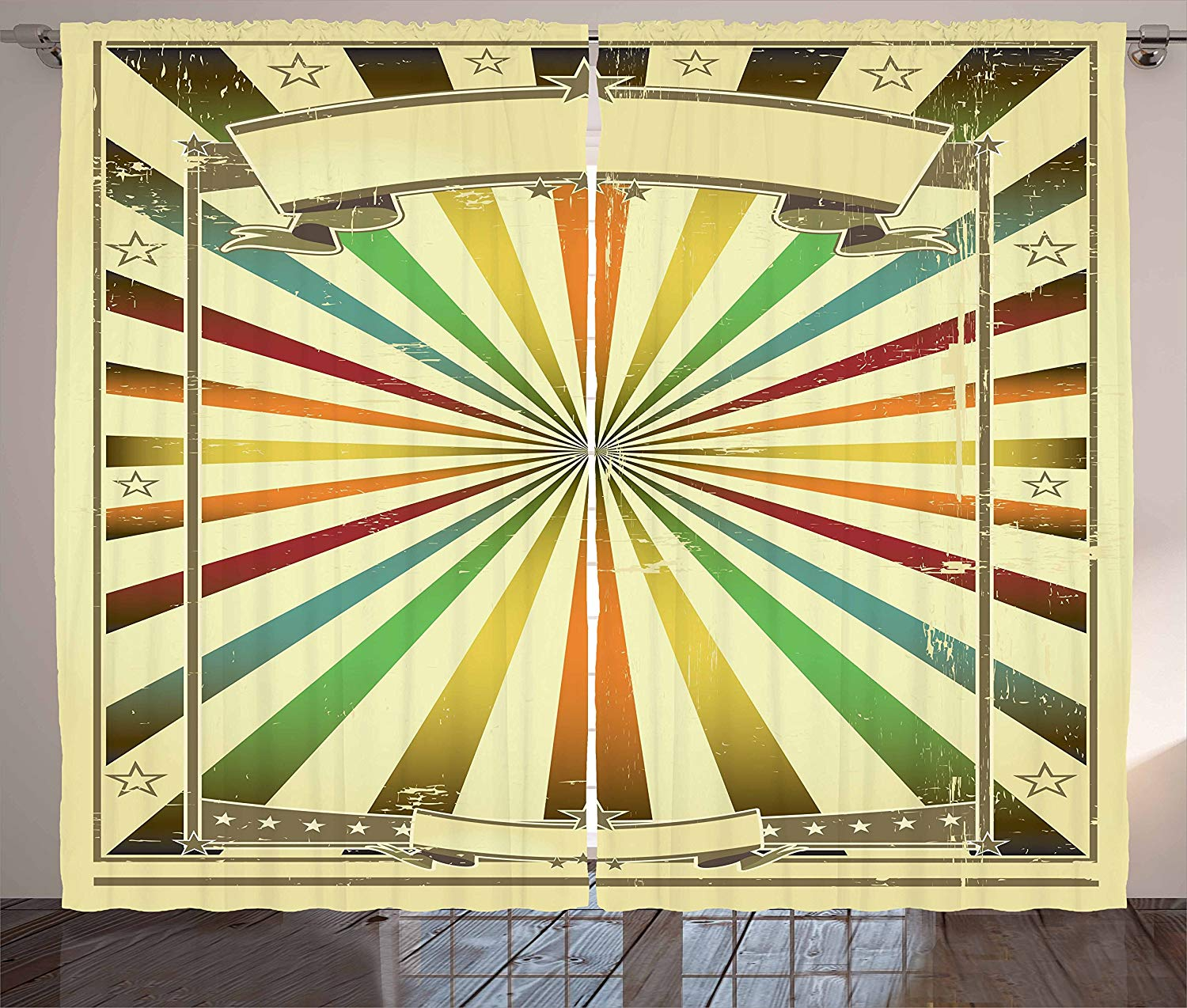 Vintage Rainbow Curtains Colorful Burst Of Lines With Poster Design With Stars Circus Illustration Living Room Bedroom Window