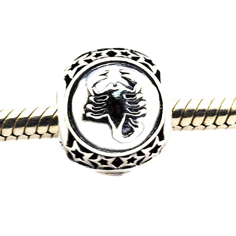 Charm Fit Original Pandora Bracelet Bead DIY Jewelry Scorpio Star Sign 100% Real 925 Sterling Silver Charm Jewelry FL422