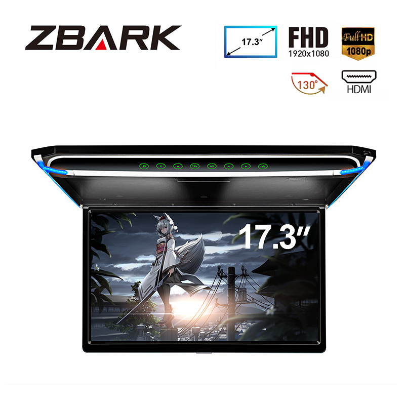 17.3 Monitor 1080P Video HD Digital TFT Screen Wide Screen Ultra-thin Mounted Car Roof Player HDMI IR FM USB SD NO DVD