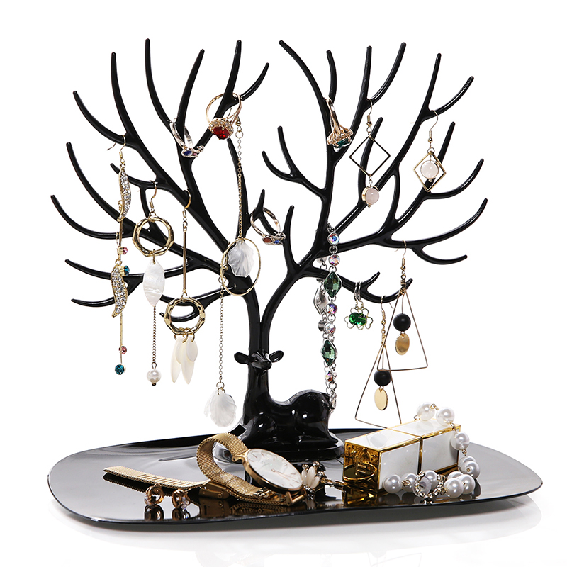ANFEI Little Deer Earrings Necklace Ring Pendant Bracelet Jewelry Display Stand Tray Tree Storage Racks Organizer Holder H39 earrings