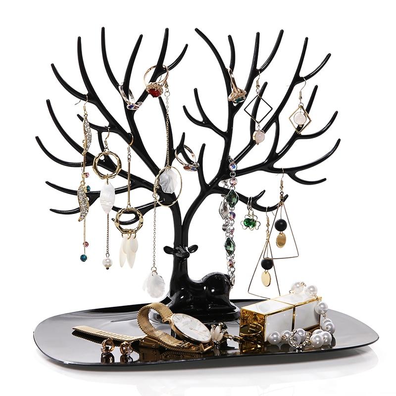 ANFEI pequeño ciervo pendientes collar anillo pulsera colgante joyas pantalla bandeja árbol estantes de almacenamiento organizador titular H39