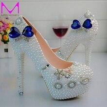 Weiße Perle Blauen Kristall High Heel Schuhe Frauen Neue Designer Handgemachte Hochzeit Schuhe Crown Strass Dame Glücklich Prom Schuhe