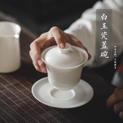 Thé en porcelaine blanche Dehua Tureen thé blanc Jade fait à la main Kung FuPu'er thé vert Oolong trois bols Teaware livraison gratuite