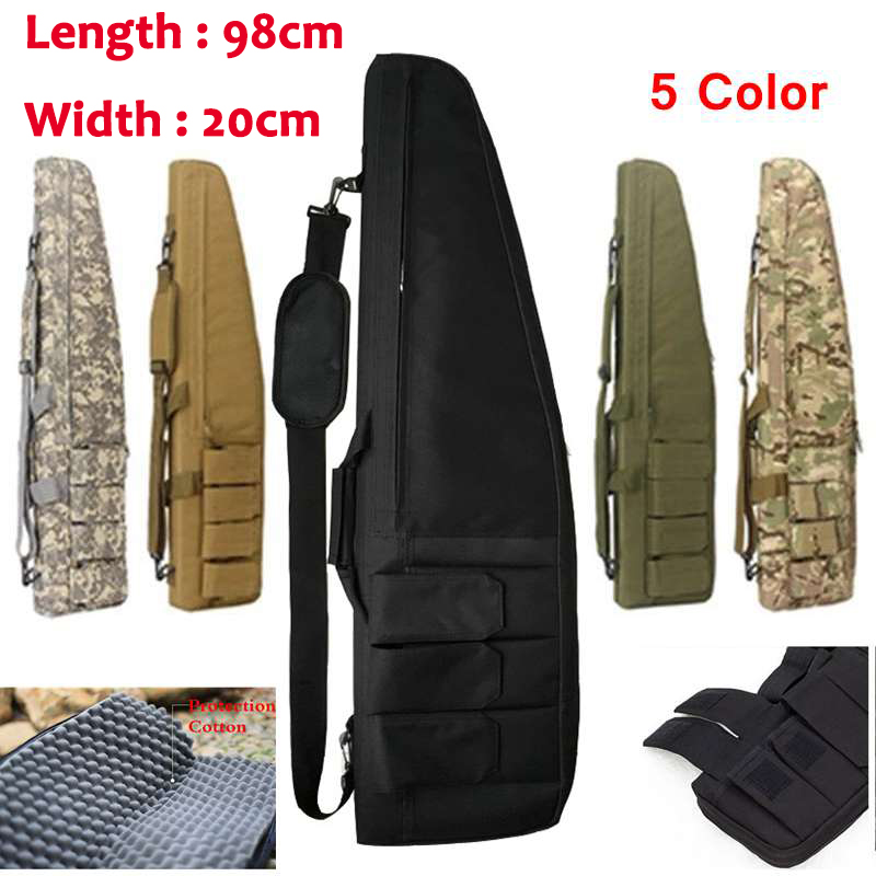 цена на 98cm Hunting Shotgun Bag Tactical Rifle Case Shotgun Backpack Gun Scabbard Outdoor Sports Carrying Shoulder Bag