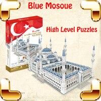 Lüks Hediye Mavi Camii 3D Bulmacalar Model Büyük Yapı İnşaat Oyuncaklar MAX Seviye IQ Oyunu Büyük Dekorasyon Toplama Modeli