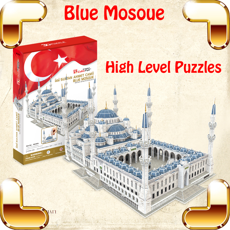 Luxury Gift Blue Mosque 3D Puzzles Model Big Building Construction Toys MAX Level IQ Game Huge House Decoration Collection Model new year gift burj khalifa 3d puzzle model building led tower diy display decoration toys education iq high collection pro game