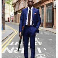 new The latest fashion style classic two grain of buckle lapel royal blue suit two piece formal occasions (jacket + pants)
