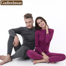 Andturtleneck Men's Women's Thermal Underwear Sets Pure Cotton Male And Female Soft Thin Warm Long Johns In Autumn And Winter