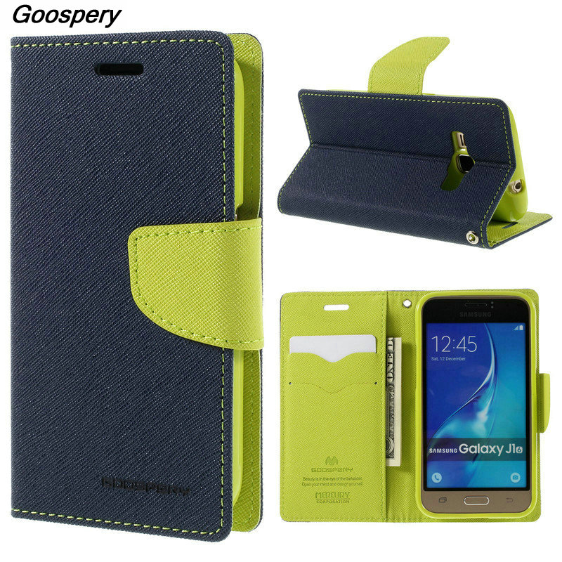 Mercury Goospery Double Color Leather Flip Case Cover For Samsung Galaxy S4 S5 S6 S8 A3 A5 A7 J1 J3 J5 J7 2016 2017 Prime Cases
