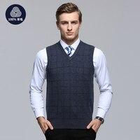 M 3XL 100 Wool Casual Sweater Men Male Sweater Vest Men Knitted Sleeveless Men Sweater V