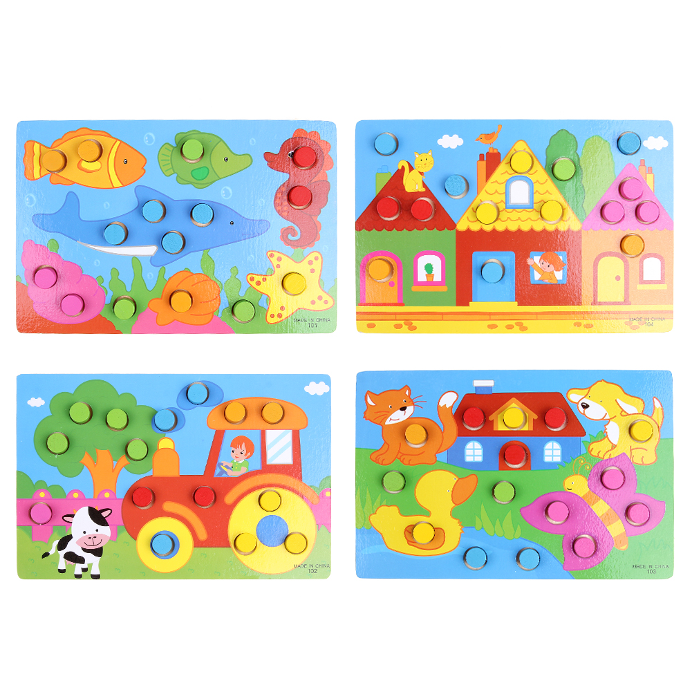 Wooden 3D Puzzle Jigsaw Toys Cartoon Things Color Cognition Board Games Educational Toys For Children Wood Puzzles Baby Toy Gift