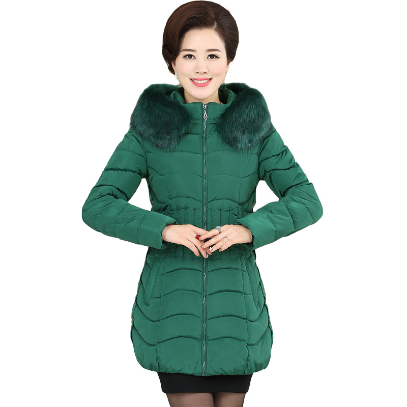 Middle Age Women Winter Tops Big Size Mother Clothes Plus Large Size 4XL Female Navy Green Parkas Thick Jacket Medium Long XH532