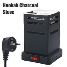 Mini Square Shisha Hookah Charcoal Stove Heater Charcoal Oven Hot Plate Coal Burner Pipes Accessories with EU Plug Cable Black
