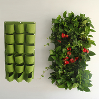 Plant hanging bag with 18 pots of vertical greening plants garden balcony hanging stereo flower pot pots for planting decoration