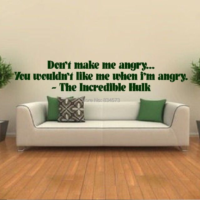 Hot The Incredible Hulk Quote Wall Art Sticker Decal DIY Home ...